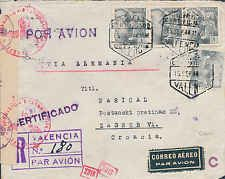 1944 SPAIN to CROATIA. SCARCE REGISTRY AIRMAIL combined HANDSTAMP ATTRACT CENSOR