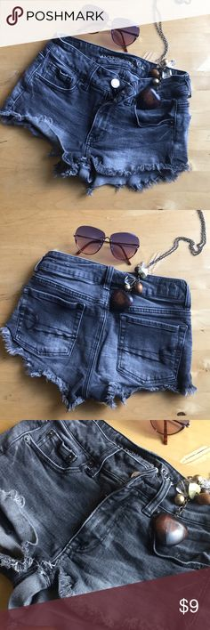 Black Jean Shorts Fun fun fun Shorts!!!! Get ready for summer and the beaches! This black, light gray washed pair of shorts is ready for fun in the sun ☀️ !! Bundle today!!!!!!!! American Eagle Outfitters Shorts Jean Shorts