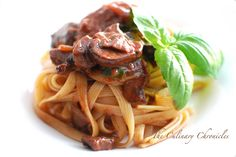Mushroon Ragout with Fettuccine Rigate - I look for this rigate pasta every time I'm at the store, no luck in finding it