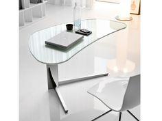 Cattelan Italia Schreibtisch Island Glas Weiß kaufen im borono Online Shop