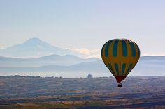 Hot air balloon and Mount Argeo - Nigde, Cappadocia, Turkey