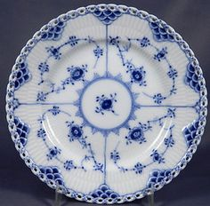 Royal Copenhagen Blue Fluted full lace cake plate
