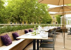 Outside dining on the terrace at The Montpellier Chapter Hotel, Cheltenham