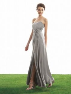 Sweetheart Hand-Made Flower Floor-length Chiffon Bridesmaid Dress