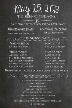 simple program! LOVE IT!! Wedding Program Party and Ceremony Chalkboard by SweetBeeCreates, $20.00