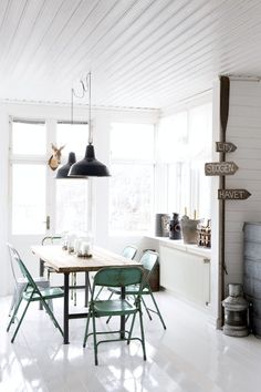 "different twist on ""modern chairs"" in farmhouse dining room"