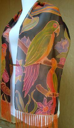 "NEW designer black scarf w/fringe.Multi color scene ""PARROTS"" handpainted Silk chiffon #OOAK FAB!"