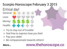 Critical day for #Scorpio on Feb 3rd #horoscope ... http://www.thehoroscope.co/horoscope/Scorpio-Horoscope-today-February-3-2015-2108.html
