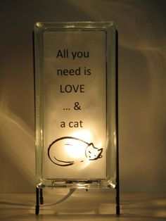 Cat Glass Block Lamp upcycled FREE SHIPPING handmade night light, cat decor cat art, all you need is love and a cat, catsitter gift, for her #LampUpcycle