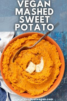 This sweet and savoury Vegan Mashed Sweet Potato is incredibly creamy and delicious and just perfect for serving with your holiday meals. The sweet potatoes are first roasted with herbs and garlic to concentrate the flavours, then they are mashed with spices and coconut cream to make them even better! Vegan Roast Dinner, Vegan Dinner Recipes, Vegetarian Recipes, Vegan Dinners, Vegan Mashed Sweet Potatoes, Sweet Potato Recipes, Holiday Recipes, Holiday Meals, Vegan Marshmallows