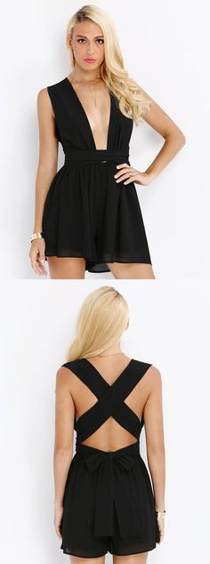 Ultra chic and baring ensemble will definitely make heads turn walking down the street. A must have plunging neckline and open back crisscross strapped mini is our sexiest little black dress.