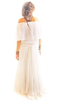 love the toussled hair  and the vintage mexican wedding dress (perhaps for Sunday brunch after the wedding night)