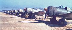 """Abandoned Ki-51 """"Sonia"""" dive bombers at the former Imperial Japanese Army's Pyeongtayk airbase Korea in the autumn of 1945."""