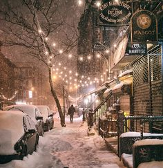NYC. Snow & Lights in East Village // Vivienne Gucwa