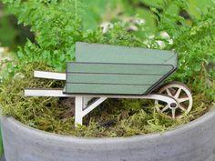 Fairy Garden Wheelbarrow - Miniature Handmade Wooden Fern Green