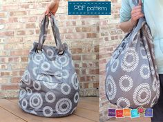 Beach Bag Sewing Pattern , Instant Download PDF , Tote Bag Pattern , Sewing Photo Tutorial , Easy Sewing Pattern , Family Size Bag, Gray Bag by HowDoYouDoIt on Etsy