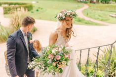 Bride in Rembo Styling Wedding Dress | Matt Ethan Photography | Vintage Pink Wedding at Newton Hall, Newton by the Sea