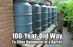 Way to Filter Rainwater in a Barrel. If you want filtered water right from a rain barrel this is for you. This 100 year old tip is a classic (Survival Water Filter Rain Barrels) Homestead Survival, Camping Survival, Survival Prepping, Emergency Preparedness, Survival Skills, Survival Gear, Emergency Shelters, Survival School, Doomsday Prepping