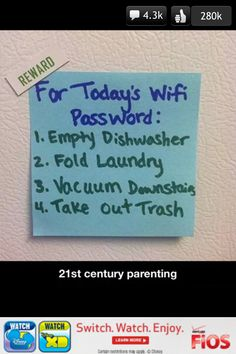 Parenting 101; love it! wish I could use it with my stepson but he doesn't care!