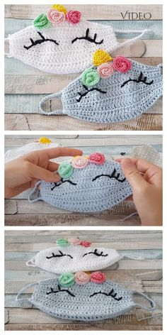 Fun Animal Face Mask Free Crochet Patterns + Video - DIY Magazine - You are in the right place about crochet Here we offer you the most beautiful pictures about the - Crochet Mask, Crochet Diy, Crochet Faces, Crochet For Kids, Crochet Crafts, Crochet Projects, Diy Projects, Fabric Crafts, Animal Face Mask