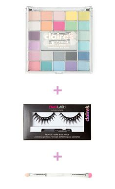 Prom DIY tip: Use a pre-selected color palette like Claire's mini eyeshadow case to countless looks from neutral to bright and bold. Then use a thick smokey eye brush and glitter faux lashes to really bring out your eyes!