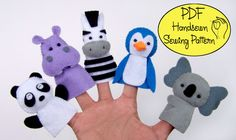 PDF Pattern: Zoo Friends 02 Felt Finger Puppets.