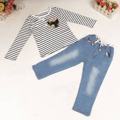 Hot Kids Baby Girl 2 Piece White T Shirt Demin Jeans Set Summer Casual Outfits at Banggood