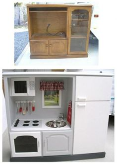 Turn an old furniture into a kitchen for children!