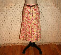 Floral Linen Skirt Cotton Hippie Skirt Flared by MagpieandOtis