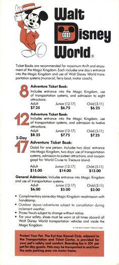 1976 - Ticket prices to Walt Disney World in Orlando, FL.
