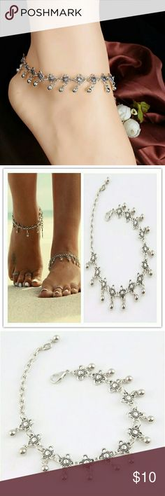 """SILVER ALLOY ANKLET- 11"""" Beautiful Adjustable size ANKLET  up to 11"""" BOUTIQUE Jewelry Bracelets"""