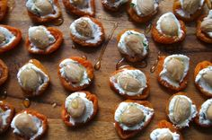 Apricots with Basil Goat Cheese & Almonds. (Would likely swap out basil for a more earthy herb myself.)
