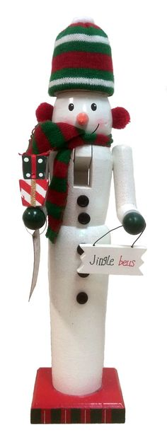 Snowman with Presents and Jingle Bells Sign Wooden Christmas Nutcracker 15 Inch Nutcracker Christmas, Christmas Themes, Christmas Ornaments, Holiday Decor, Jingle All The Way, Xmas Crafts, Jingle Bells, Wooden Signs, Nutcrackers