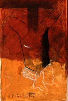 Le Sacré-Cœur (aquarelle, fusain rehauts de blancs, 100 x 64 cm), signé et daté A. Fecit, 1989, fait partie du travail de Jean-Michel Alberola pour illustrer l'évangéliaire.