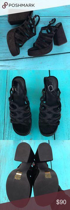 "Jeffrey Campbell LELAINA Velvet Platform Sandals Jeffrey Campbell LELAINA Velvet Slingback Platform Sandals with 4.75"" heel and 1.75"" Platform. Size 8.5. New in box. Never worn! #unif #currentmood #yru #dollskill #beachgoth Jeffrey Campbell Shoes Sandals"
