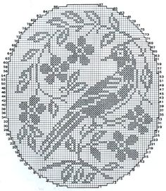 Cross Stitch Bird, Cross Stitch Flowers, Cross Stitch Designs, Cross Stitching, Cross Stitch Patterns, Free Crochet Doily Patterns, Filet Crochet Charts, Crochet Doilies, Fillet Crochet