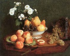 Henri Fantin-Latour Flowers and Fruit on a Table painting for sale, this painting is available as handmade reproduction. Shop for Henri Fantin-Latour Flowers and Fruit on a Table painting and frame at a discount of off. Henri Fantin Latour, Painting Still Life, Still Life Art, Francoise Gilot, Still Life Images, Fruit Painting, Wall Decor Pictures, Oil Painting Reproductions, Museum Of Fine Arts