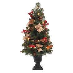 null 32 in. Natural Pine Potted Artificial Christmas Tree with Pinecones, Red Berries and Burlap