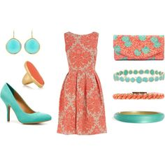 coral and turquoise. Love the dress