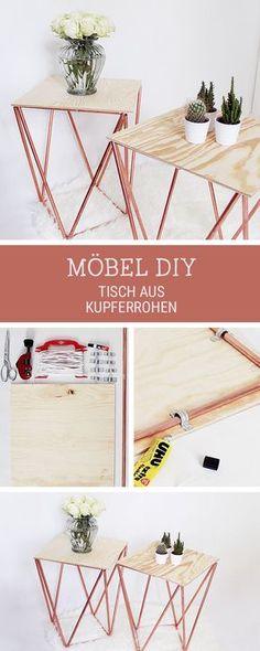DIY-Anleitung für einen modernen Tisch aus Kupferrohren und Holz, Möbel selberbauen / crafting project: side table made of copper pipes via DaWanda.com