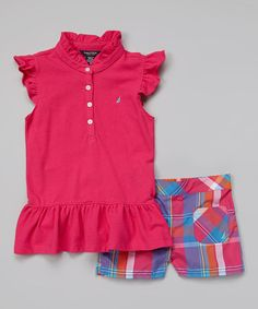 Look what I found on #zulily! Pink Flutter Sleeve Top & Plaid Shorts - Infant & Girls #zulilyfinds