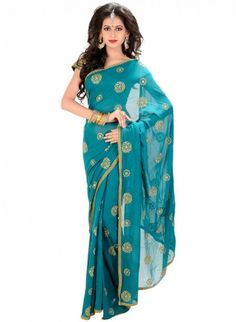 Scintillating Teal Blue Color Embroiderey #Saree With Resham Work #designersarees #clothing #womenswear #womenapparel #ethnicwear