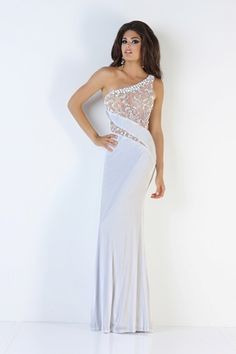 A sophisticated white evening gown from Xcite Prom by Impression