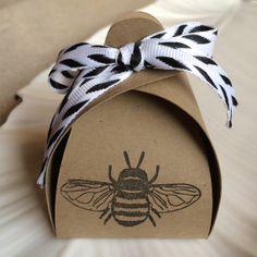 Black Bumble Bee Stamped Kraft Truffle Box by BRANDYSINKDESIGNS, $9.00