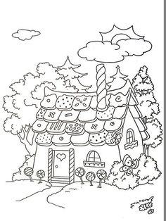 Perníková chaloupka Colouring Pages, Printable Coloring Pages, Coloring Books, Coloring For Kids, Adult Coloring, Free Coloring, Kids Art Class, Art For Kids, Christmas Drawings For Kids