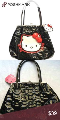 "NWT Loungefly Hello Kitty Purse Hello Kitty  Loungefly  Purse Tote Handbag Shoulder Bag Has embossed Hello Kitty's  in between quilted patterns  New with tag   Measures 15"" X 12"" Hello Kitty Bags Shoulder Bags"