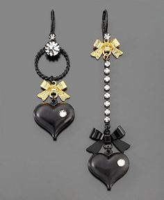 Betsey Johnson Earrings, Asymmetrical Black Heart - Macy's