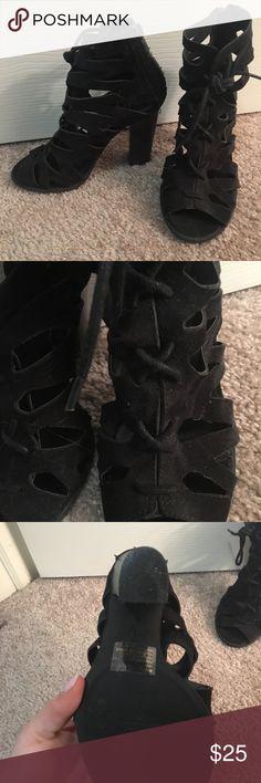 Black lace up chunky heel