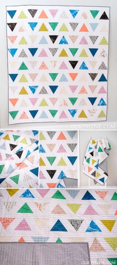 Triangle Pop Quilt Pattern by Emily of quiltylove.com. Click on through for more photos of this modern and simple triangle quilt. Uses traditional piecing and fat quarters.