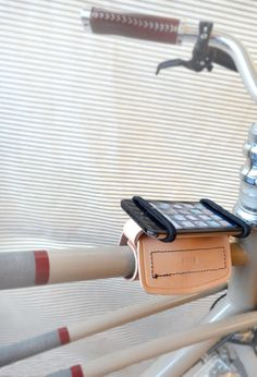 Thurman leather bike phone mount by The Beebe Company